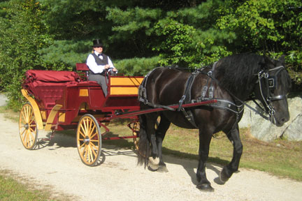 wedding carriage, red vis-a-vis